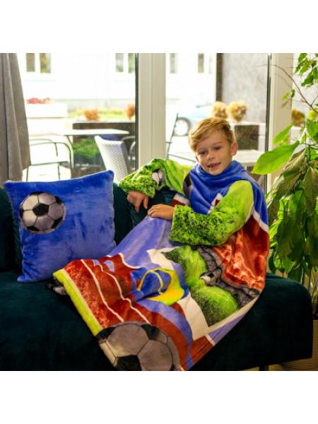 Рукоплед Плед с рукавами из микрофибры с рисунками детский 125х80 Футбол SKL20-277453