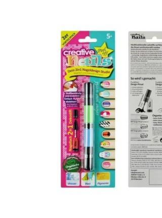 Детский лак-карандаш для ногтей Malinos Creative Nails на водной основе 2 цвета Зелёный и Голубой SKL17-223447
