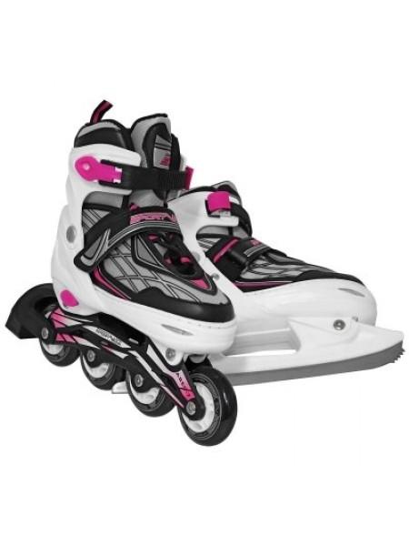 Роликовые коньки SportVida 4в1 размер 39-42 белые с черным и розовым SKL41-283244