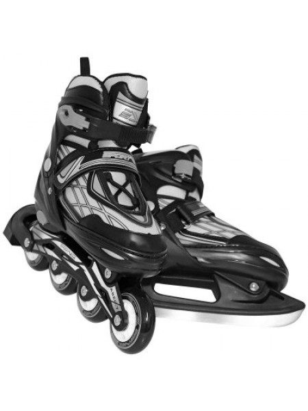 Роликовые коньки SportVida 4в1 размер 35-38 черные с серым SKL41-283246