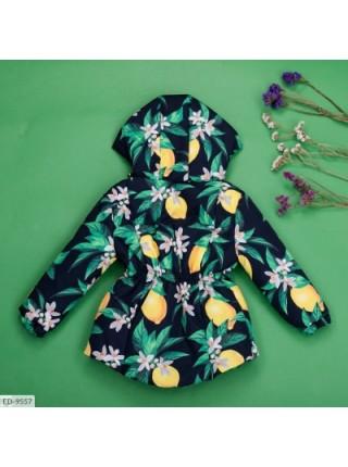 Детская демисезонная парка с лимонами черная SKL11-260951