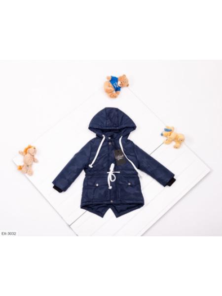 Детская демисезонная парка синяя камуфляжная SKL11-283287