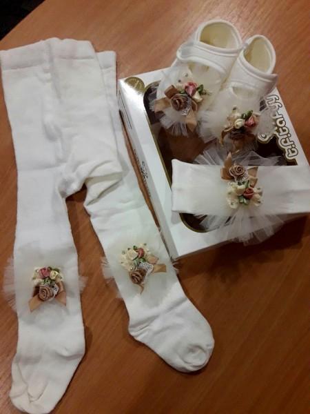 Комплект для девочки в коробке (пинетки+колготки+повязочка)