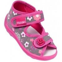 Текстильные босоножки серо-розовые в цветочек