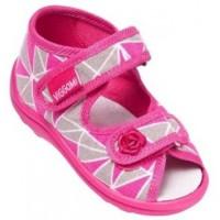 Босоножки-тапочки для девочки серо-розовые