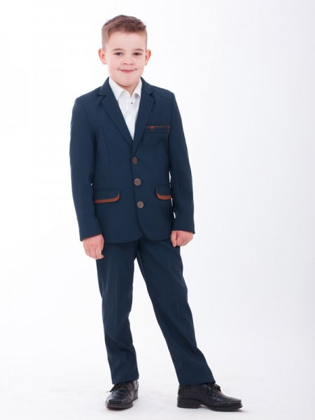 Школьный костюм для мальчика синий в клеточку