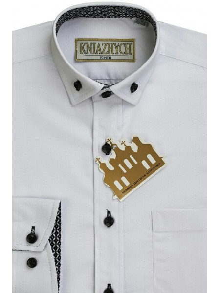 Рубашка школьная для мальчика с длинным рукавом белая