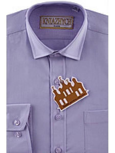Рубашка школьная для мальчика с длинным рукавом лиловая