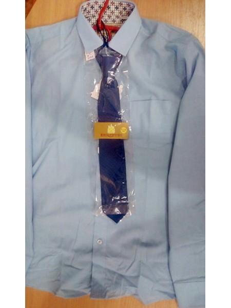 Рубашка школьная для мальчика с длинным рукавом голубая