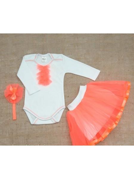 """Нарядный комплект  для девочки """"Ягодка"""" 74,80 размер оранжевый"""