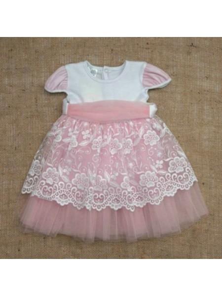 Нарядное платье с кружевом розовое