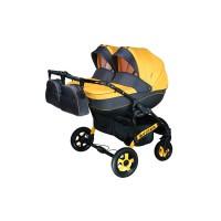 Детская коляска для двойни VIPER D-33, 2 в 1 желтая