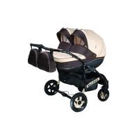 Детская коляска для двойни VIPER D-11, 2 в 1 бежевая с коричневым