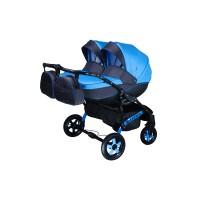 Детская коляска для двойни VIPER D-44, 2 в 1 голубая