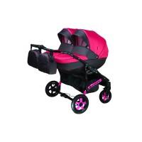 Детская коляска для двойни VIPER D-55, 2 в 1 розовая с серым
