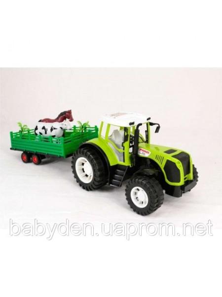 Трактор с прицепом и животными