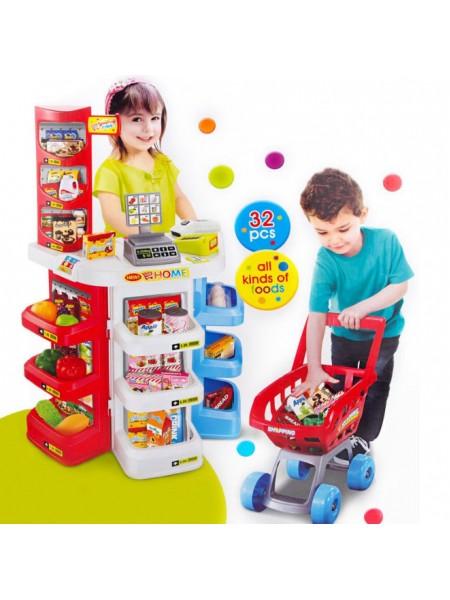 Супермаркет продукты, сканер, тележка