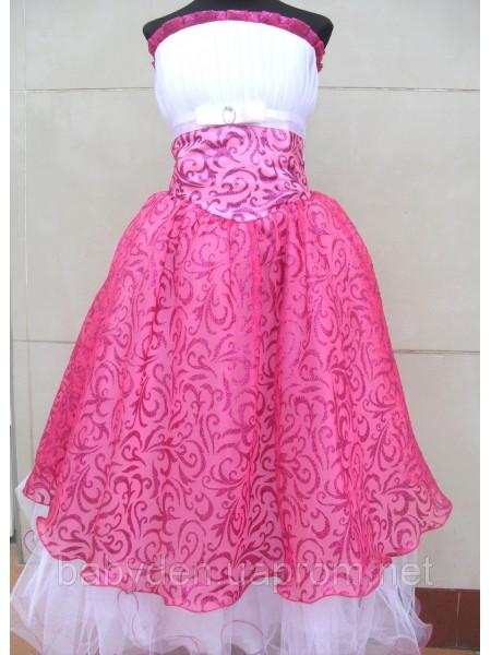 Платье нарядное, пышное малиновое с белым