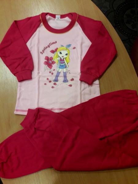 Детская теплая пижама на баечке для девочки Куколка малиновая 110 размер