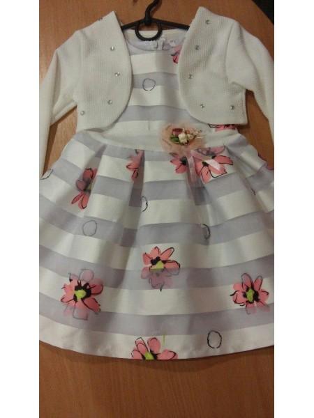 """Платье с болеро """" Цветочки"""" для девочки, белое"""