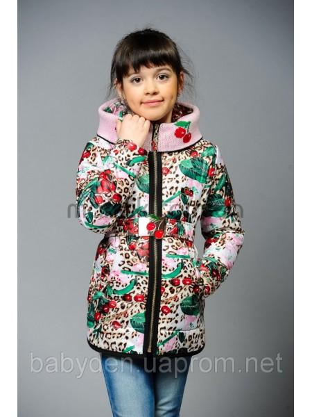 Куртка для девочки с вязаными вставками и ремешком