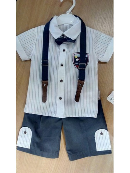 Летний костюм для маленького джентльмена рубашка+шорты+подтяжки