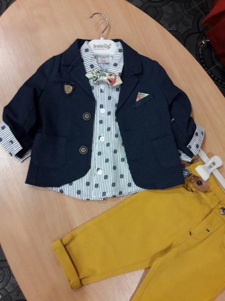 Костюм для мальчика пиджак+брюки с подтяжками+рубашка с бабочкой