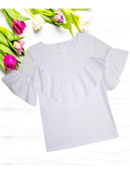 Блуза школьная стрейч-кулир БЛ-107-18 белая р-р 122-146